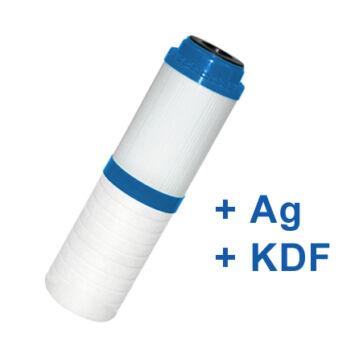 """Dual aktívszén-mechanikai szűrőbetét 10"""" (PP-GAC-Ezüst-KDF)"""