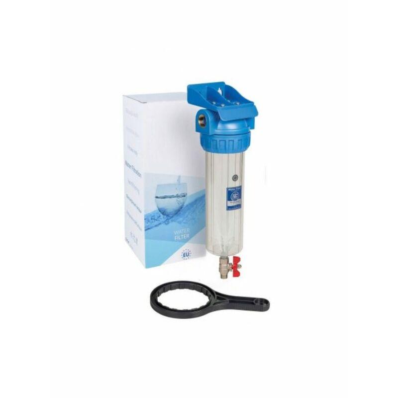 """Vízszűrő ház leeresztőcsappal 10"""", 3/4"""", konzol, kulcs (Aquafilter)"""