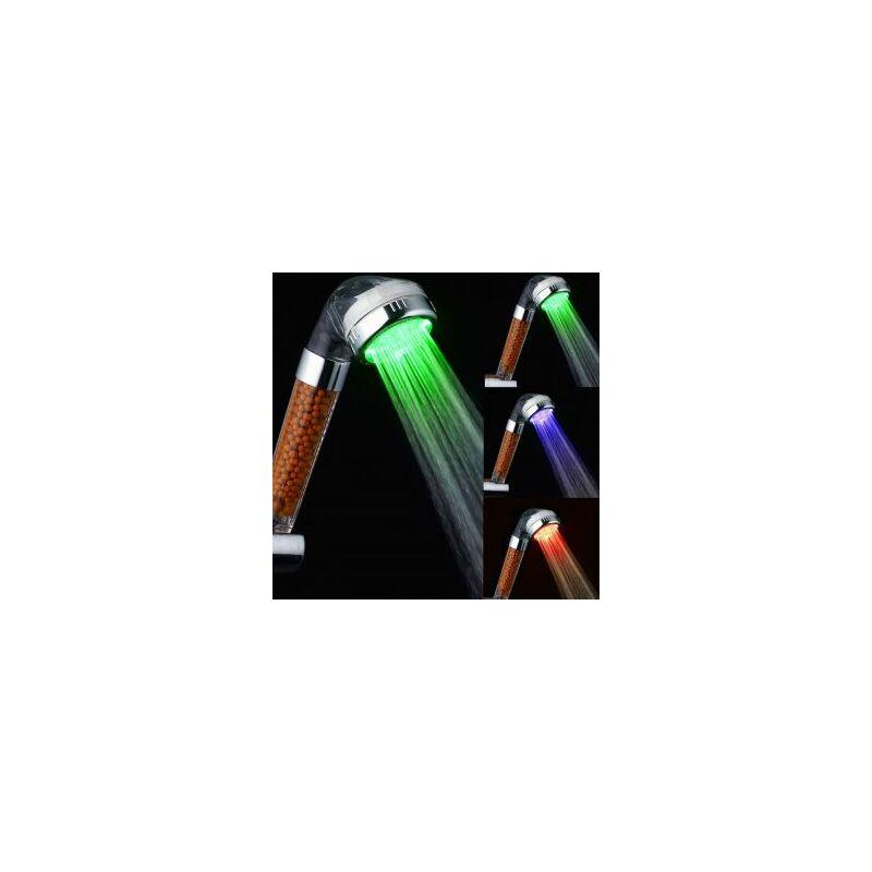 LED színváltós zuhanyfej klórtalanító, víztisztító golyókkal